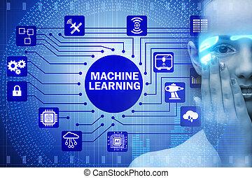 máquina, mulher, conceito, aprendizagem