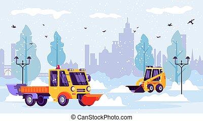 máquina, neve, illustration., inverno, cidade, arados, limpo, trações, ruas, vetorial