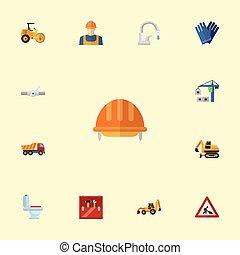 máquina, oleoduto, jogo, elements., apartamento, indústria, ícones, objects., içar, símbolos, também, vetorial, cautela, construtor, toolkit, inclui, outro, carregador