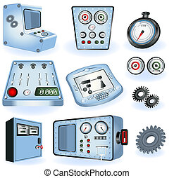 máquina, operadores, -, elétrico, contro