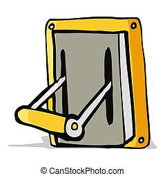 máquina, palanca, industrial, caricatura