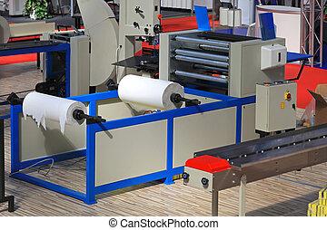máquina, papel higiénico
