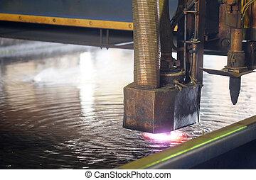 máquina, para, el, laser, corte, metal, en, agua