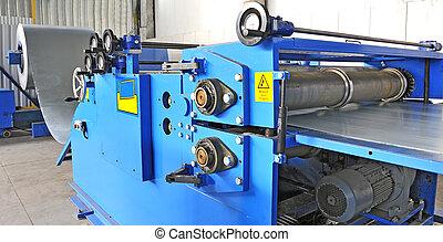 máquina, para, rolando, aço, folha, em