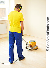 máquina, parqué, mantenimiento, molienda, piso