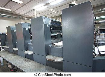 máquina, prensa, impresión, -, compensación