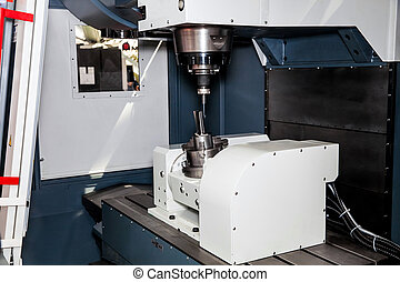 máquina, processando, metal, cnc