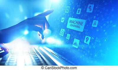 máquina, profundo, aprendizagem, algorithms, inteligência artificial, ai, automação, e, tecnologia moderna, em, negócio, como, concept.