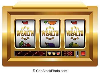máquina, ranhura, riqueza