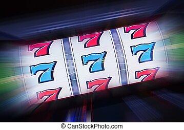 máquina ranura, siete, triple