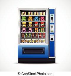 máquina, realístico,  Vending, Lanches