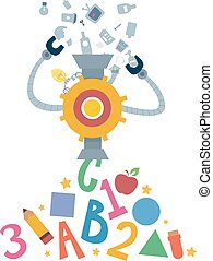 máquina, reciclaje, programa, educación, ilustración