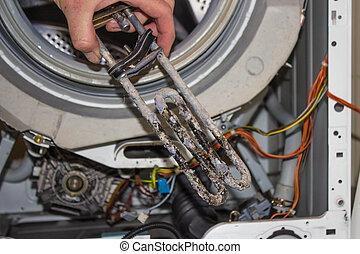 máquina, reparación, lavado