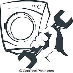 máquina, reparar, lavando, silueta
