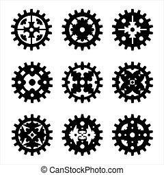 máquina, roda engrenagem, cogwheel, jogo