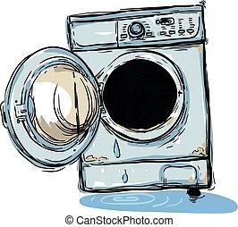 máquina, roto, lavado