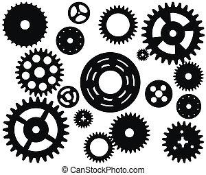 máquina, rueda, rueda dentada, vector, engranaje
