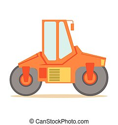 máquina, série, local construção, paver, pequeno, vetorial, roadworks, laranja, parte, ilustrações