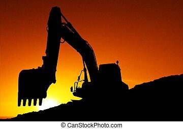 máquina, silhouetted, cavar