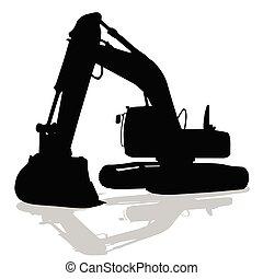 máquina, silueta, trabalho, pretas, cavador