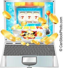 máquina slot, computador laptop, conceito