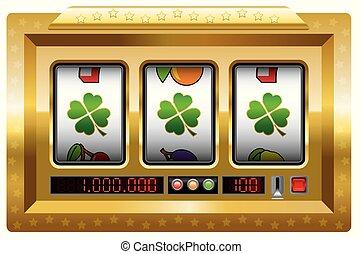 máquina slot, trevo, afortunado, ganhe