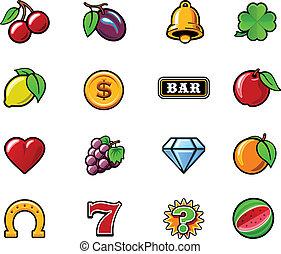 máquina slot, vetorial, jogo, símbolos