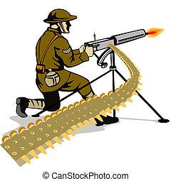 máquina, soldado, apuntar, arma de fuego