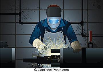 máquina, soldador, trabajando