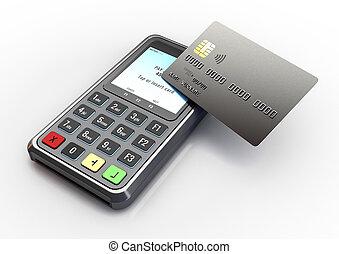 máquina, tarjeta, paga, golpecito