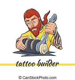 máquina, tatuagem, predios