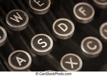 máquina teclas escrever, efeitos, grunge, vindima