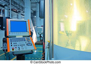máquina, trabajadores, herramientas, cnc, operación