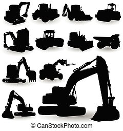 máquina, trabajo de construcción, silueta