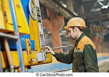 máquina, trabalhador, industrial, operando