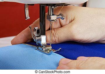 máquina, trabalho, cosendo