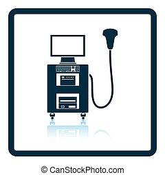 máquina, ultrasonido, diagnóstico, icono