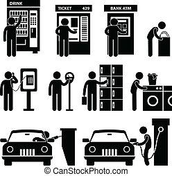 máquina, usando, homem, público, automático