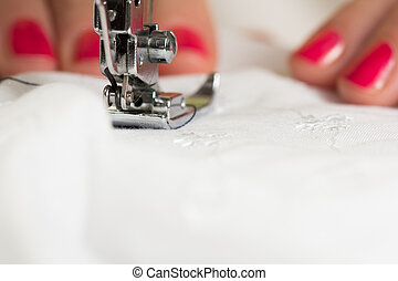 máquina, utilizar, costura