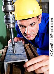 máquina, utilizar, trabajador industrial, perforación