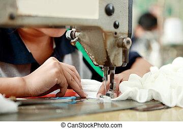 máquina, utilizar, trabajador industrial, costura