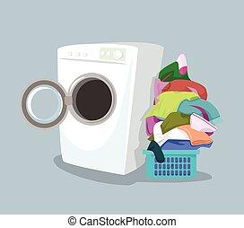 máquina, vector, lavado