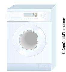 máquina, vector, nuevo, plano de fondo, aislado, lavado, blanco, realista, ilustración