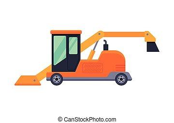 máquina, vector, profesional, vehículo, ilustración, invierno, camino, retiro de nieve, limpieza