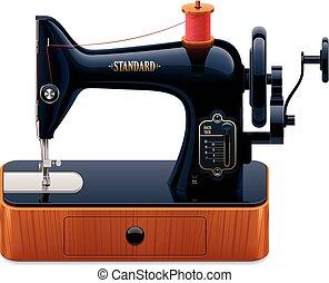 máquina, vector, retro, costura