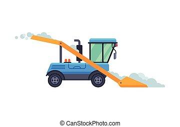 máquina, vector, vehículo, ilustración, invierno, camino, retiro de nieve, limpieza