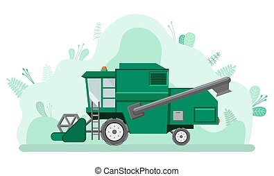 máquina, vetorial, car, agricultura, combinar, colher