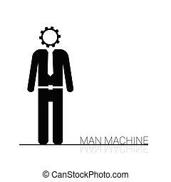máquina, vetorial, homem, ícone