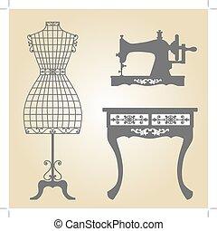 máquina, vindima, cosendo, mannequin, vetorial