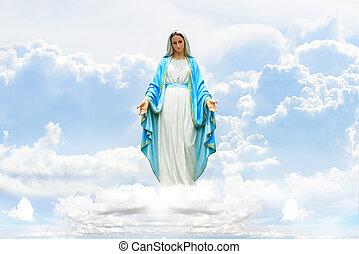 mária, képben látható, felhő, és, ég